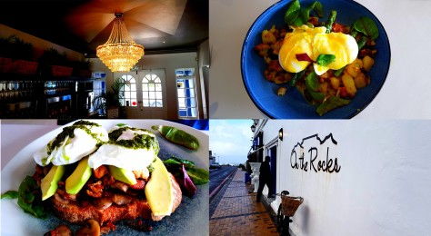 We treated ourselves to breakfast at On the Rocks on Sunday. See the chandelier glowing brightly as well as Husband's 'Jonkershuijs' breakfast bottom-left, full of pork belly, avo and poached egg, as well as my Hash bowl packed with potatoes, asparagus and poached eggs.