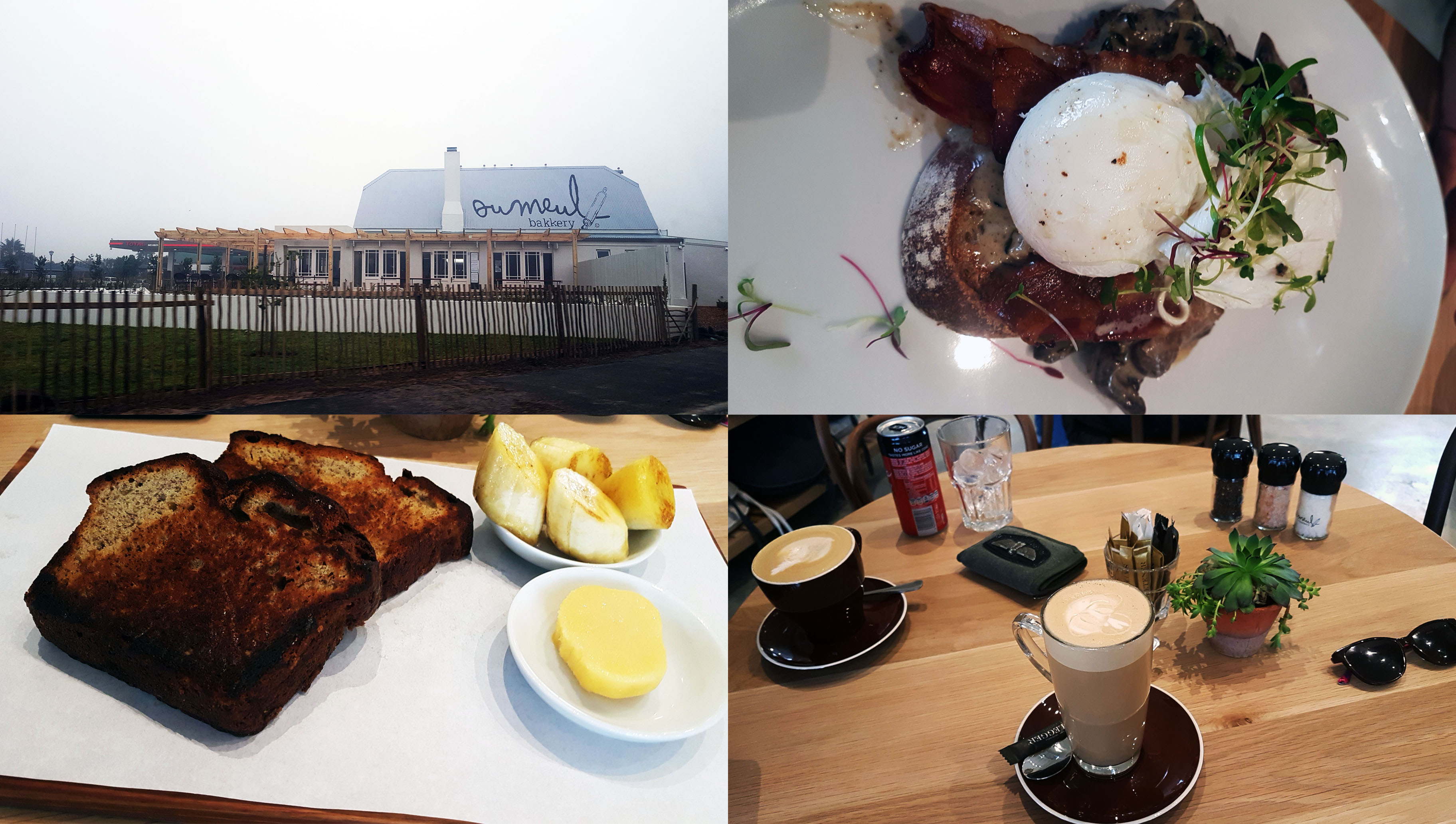 It was the Winteriest day on Sunday so we sat inside at the new Ou Meul Bakkery in Melkbos (where the farmstall used to be). See Husband's eggy toast and my toasted banana bread, as well as our coffees - a flat white and honey-nut latte, respectively.