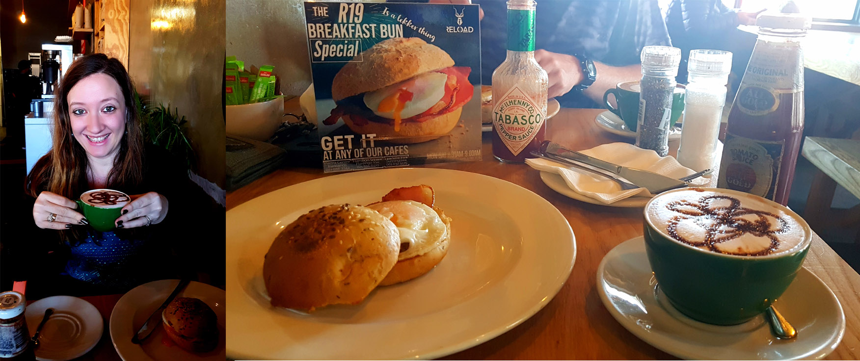 We breakfasted at Reload, Flamingo Vlei on Saturday and sampled their 'breakfast bun' special. Husband had a flat white with his, I went for the peppermint-choc latte.