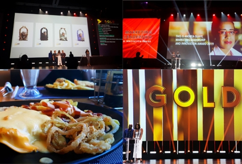Scenes from the Friday night Loeries ceremony, as well as the cheddamelt schnitzel meal we shared on Saturday, with a Bar-One shake each.