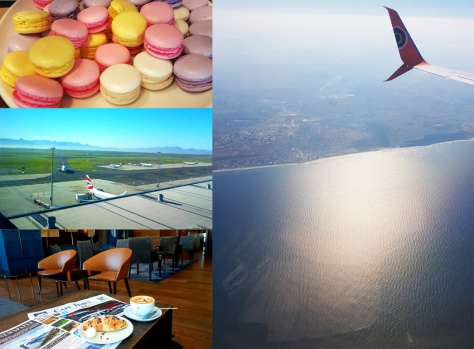 Slow lounging, Cape Town! The top pic of macarons and the Mango plane are from Husband's trip to join me once the Loeries were over on Sunday, the bottom two on the left were my snaps from my Wednesday morning flight.