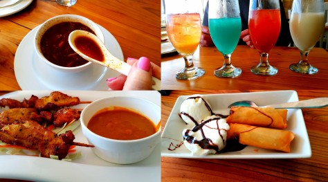 Some of the deliciousness - Mum's Tom Yum soup, my satay chicken and chocolate spring rolls, and assorted cocktails, from left to right in the upper-right photo: Call me A Cab, Blue Hawaii, Mermaid's Orgasm and Pina Colada.