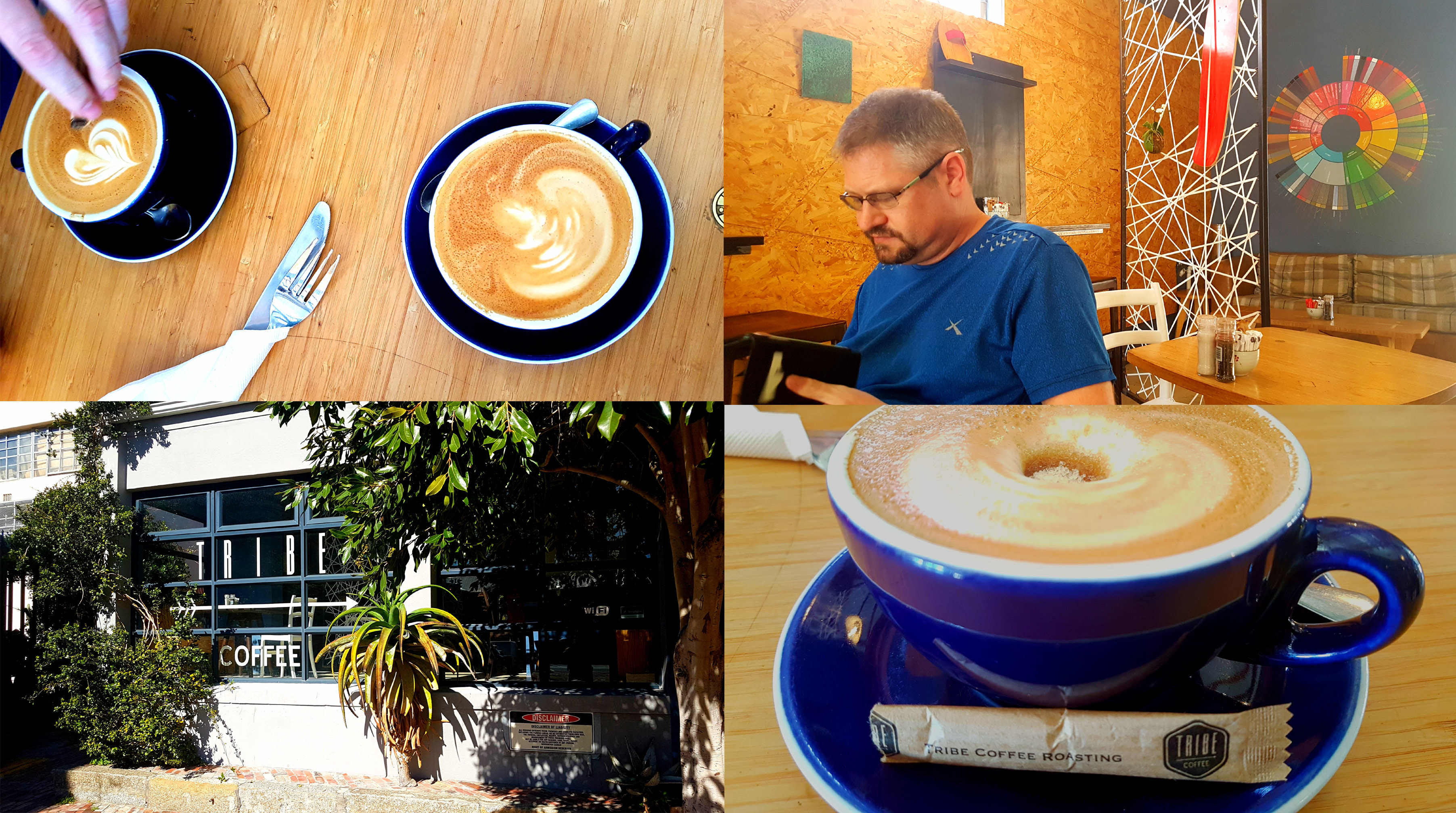 I met Husband for a quick coffee at Tribe, across the road from my offices on Tuesday. See our nice strong flat whites.